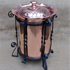 Tall arts and crafts log / coal bin in copper