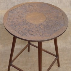 Arts and crafts side table in oak , acorn decoration