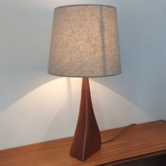 Teak Mid Century lamp reminiscent of a standing cat