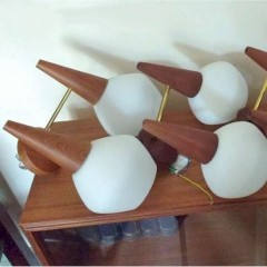 4 Prs midcentury wall lights , teak , brass & glass