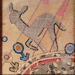 1930's art deco applique picture of a young deer
