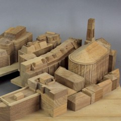 Architects wooden model of various buildings