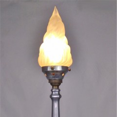 arts and crafts table lamp with flame shade