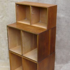 Unix 3 section modular bookcase system in oak