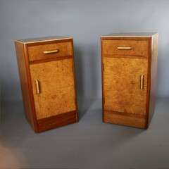 Art Deco pair of birds eye maple bedside cabinets.
