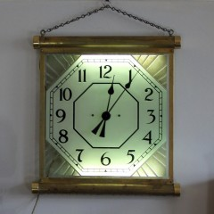 1930's brass illuminated Cinema clock. Made in England by