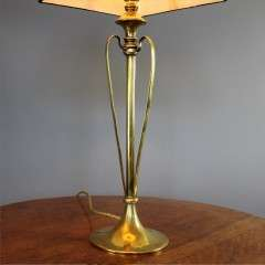 Brass art nouveau table lamp