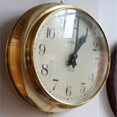 Factory / shop clock in brass by Magneta Electric London c1950