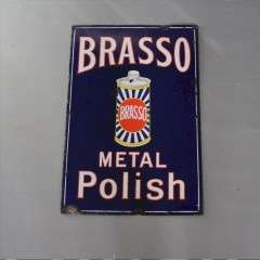 Enamel Advertising Sign Brasso Metal Polish