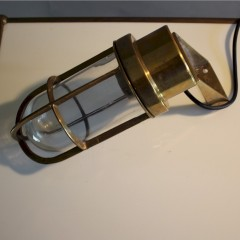 Pair of brass marine bulkhead lamps