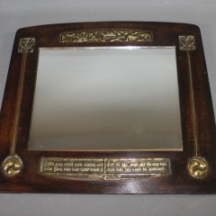 Robbie Burns motto mirror in oak and brass frame