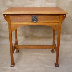 Arts and crafts stylised oak desk