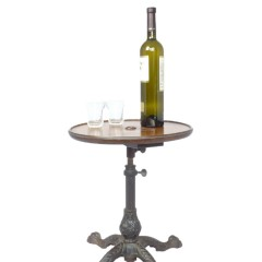 Adjustable walnut wine table with cast iron base
