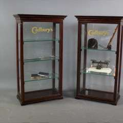 Pair of counter top Cadburys shop display cabinets