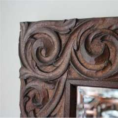 Large arts and crafts carved oak framed mirror