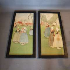Pair of arts and crafts nursery lithographs by H Cassiers