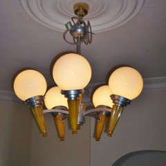 Art Deco phenolic and aluminium 5 arm ceiling light