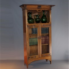 Arts and crafts copper strap oak bookcase