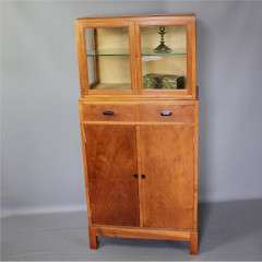 Cotswold School walnut display cabinet with e bony handles