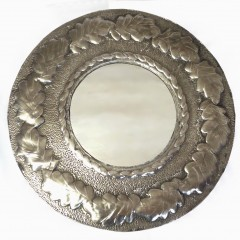Arts and crafts mirror in unpolished pewter