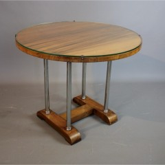 Art Deco Modernist chrome and walnut table