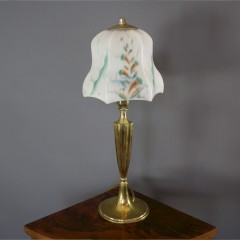 Art Deco brass table lamp , glass shade.