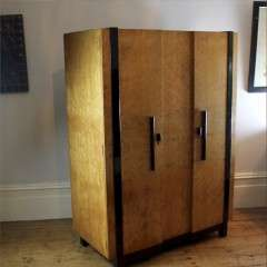 Art deco birds eye maple wardrobe attributed to Hille