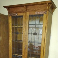 Arts and crafts bookcase with coppered strap hinges