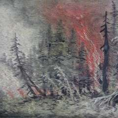 Oak framed silk embroidery Forest Fire