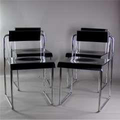 Italian 1970's black and chrome folding dining chairs