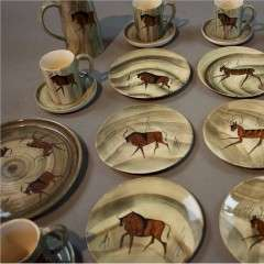 French 1950's coffee set depicting Lascaux cave drawings