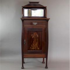 Art Nouveau mahogany music cabinet for P.E Gane by Shapland and Petter