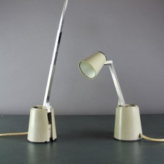 Vintage pair of Lampette collapsible reading / bedside lamps in cream finish , made in Germany