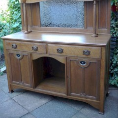 Arts and crafts sideboard with pewter inlay