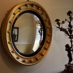 Gilt circular convex mirror