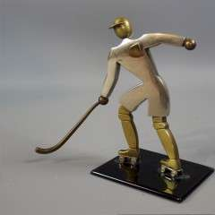 Art Deco brass figure of an ice hockey player