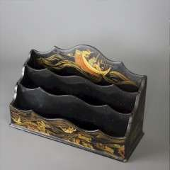 Chinoiserie Black Lacquered Papier Mache Letter Rack
