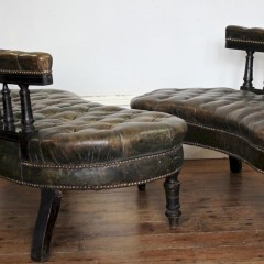 Unusual pair of Victorian leather buttoned back settees