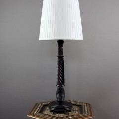 Good quality turned solid Macassar ebony table lamp