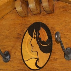 Arts and Crafts Glasgow style hallstand with inlaid maiden's head