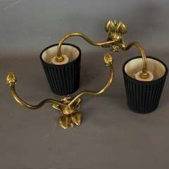 Pair of arts and crafts brass wall lights