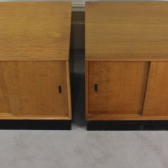 Pair of Mid Century oak veneer bedside / low side cabinets