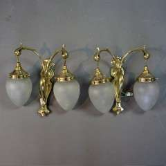 Arts and Crafts ,Nouveau pair of brass wall lights