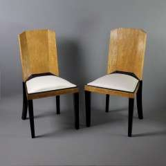 Stunning pair of art deco chairs in bird eye maple