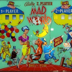 Illuminated panel from a Bally pinball machine from the Mad magazine