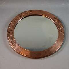 Arts and crafts circular copper mirror Rowley
