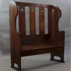 Arts and crafts oak settle with pewter ,ebony and fruitwood inlay c1900
