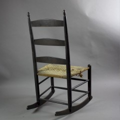 Arts and Crafts Shaker child's rocking chair with woven cloth seat