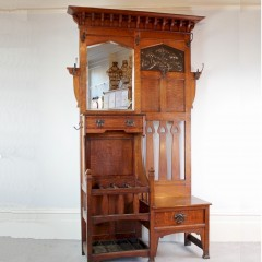 Arts and Crafts hallstand by Shapland and Petter c1900 in oak with copper panel