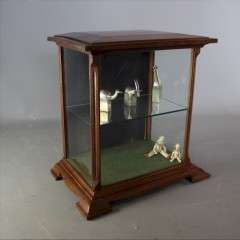 Small art nouveau mahogany shop display cabinet